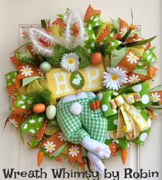 """Spring Easter Bunny Deco Mesh Wreath with Wood """"Hop"""" Sign in Yellow, Green & Orange, Easter Bunny, Bunny bottom Wreath, Easter Decor by WreathWhimsybyRobin on Etsy"""