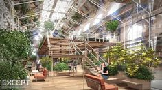 Crystal Forest (Except Integrated Sustainability Cooperative converts abandoned Amsterdam warehouse into energy-neutral forested office space.)