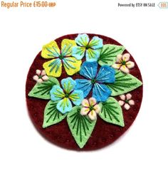 HALF PRICE January SALE Hydrangea statement felt brooch pin with freeform hand embroidery - scandinavian design - jewellery