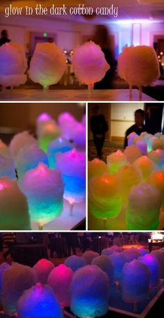 ~ Glow in the Dark Cotton Candy ~ The candy itself doesn't glow, but the stick on which its wrapped around does. A perfect treat for low lit indoor receptions or receptions being held at night.๑ ,¸¸,ø¤º°`°๑۞๑