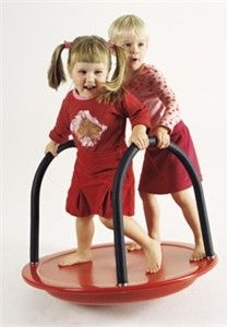 Perfect for those little ones who fear they may fall off the large merry go round at the park. Free shipping available for the Round See Saw with Handles. http://www.sensoryedge.com/spwochga.html