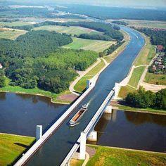 Water Bridge in Magdeburg, Germany.