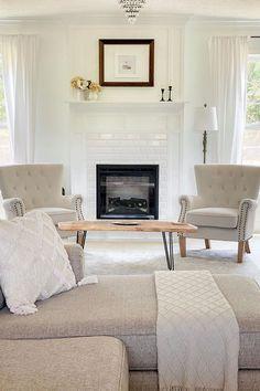 Beige Accent Chairs via Instagram user therepurposedperch. #livingroom #familyroom #den #accentchair #armchair #tuftedchair #chair #rolledarmchair #brassnailtrim #beige #neutral