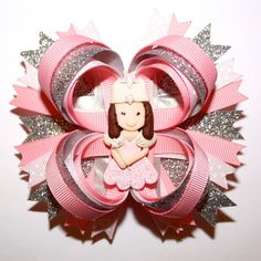 LOVE!   Glinda the Good Witch from The Wizard of Oz Inspired Pink Glitter Stacked Hair Bow