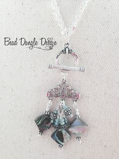 Mother of Pearl Diamond Beaded Dangle Necklace
