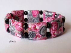 40. Bracelet fimo rose-noir cannes millefiori