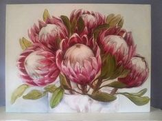 The Smosh : May art available Protea Art, Protea Flower, Paintings I Love, Flower Paintings, Painting Flowers, Oil Paintings, May Arts, Mini Canvas Art, Floral Drawing