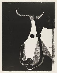Bull's Head, Turned to the Right (Tête de taureau, tournée à droite), 1948, Pablo Picasso, Transfer lithograph, composition and sheet: 25 9/16 x 19 11/16 in., France.