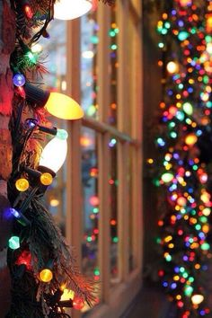 multicoloured Christmas lights around a beautiful window sill. Merry Christmas :D Christmas Time Is Here, Merry Little Christmas, Noel Christmas, Winter Christmas, All Things Christmas, Outdoor Christmas, Winter Holidays, Happy Holidays, Christmas Pictures