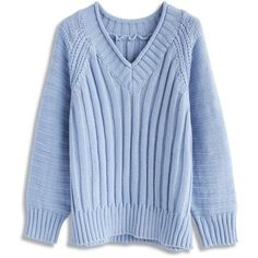 Chicwish Inspiring Simplicity Sweater in Lavender (810 ARS) ❤ liked on Polyvore featuring tops, sweaters, blue, clothing - ls tops, blue sweater, pastel tops, light purple sweater, chicwish tops and blue top