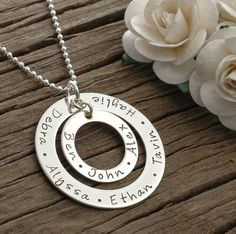 Large Family  - Personalized -  Double Washer Style Necklace - Sterling Silver. $65.00, via Etsy.