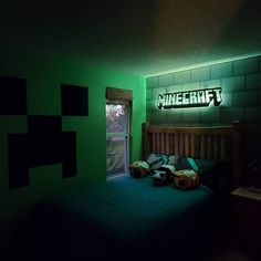 Boys Minecraft Bedroom, Minecraft Room Decor, Minecraft Wall, Kids Bedroom Boys, Minecraft Crafts, Boys Bedroom Decor, Bedroom Themes, Boy Room, Kids Room