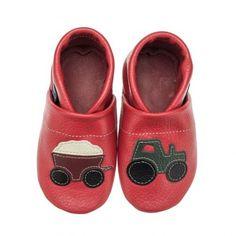 pantau.eu Kinder Lederpuschen Traktor mit Anhänger, Rot-Grün-Braun-Beige-Schwarz, Größe 31