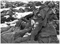 Dead German soldiers in Stalingrad. Seems like a massacre. The Russians were ruthless.