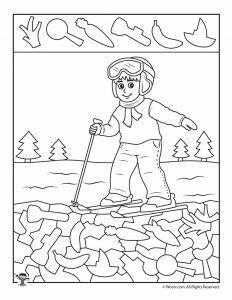 Winter Hidden Pictures Coloring Pages 9 printable winter hidden picture activity pages for preschoolers. Kindergarten Age, Preschool Age, Kindergarten Worksheets, Worksheets For Kids, Coloring Worksheets, Sports Coloring Pages, Coloring Book Pages, School Age Activities, Preschool Activities