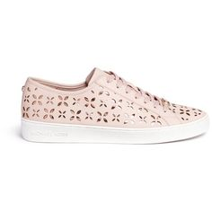 Michael Kors 'Keaton' floral lasercut perforated leather sneakers featuring polyvore, women's fashion, shoes, sneakers, pink, perforated leather shoes, floral-print shoes, michael kors trainers, leather sneakers and pink shoes