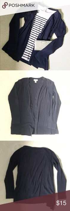 Navy open-front lightweight cardigan Lightweight cardigan with open front from LOFT. Great for layering over dresses and tank tops in the spring and summer. Petite size small. Minor pilling all over but can clean up before shipping out. ❗️Sorry, I do not trade.❗️ LOFT Sweaters Cardigans