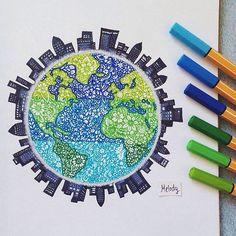 Stabilo zentangle art of the earth and surrounding city skyline