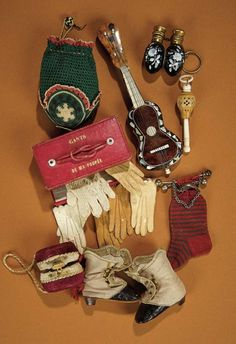 Bread and Roses - Auction - July 26, 2016: 391 Collection of French Miniature Poupee Accessories and Rare Signed Huret Boots