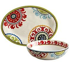Serving bowl and platter. I love the bright colors