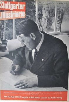 "Hitler in a 1936 photo from a 1939 magazine celebrating his 50th birthday. This is an excellent view of Hitler's hands, which were often described as ""artistic"" and ""arresting."""
