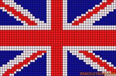 Union Jack / British flag chart for a purse in tapestry crochet Beaded Bracelet Patterns, Friendship Bracelet Patterns, Beading Patterns, Crochet Patterns, Union Jack, Cross Stitch Designs, Cross Stitch Patterns, Cross Stitching, Cross Stitch Embroidery