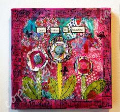 Valentines Day Art flower canvas art 8x8 mixed media original by SchulmanArts, $68.00  Love makes Life beautiful!