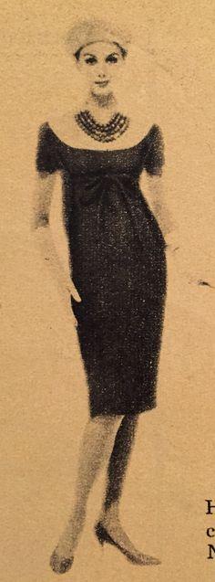 Nina Ricci Haute Couture- 1958/59 Cafe au lait brown wool off shoulder sheath dress. Elle No. 662- September 1, 1958