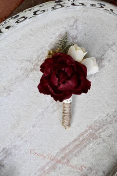 Sola Flower Burgundy Sola Boutonniere Rustic Boutonniere