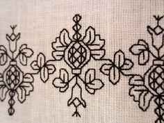 Catherine of Aragon Blackwork. Pattern is here: http://blackworkarchives.com/bw_pome.html
