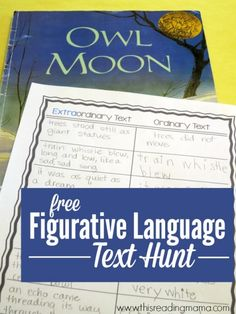 """Figurative Language Scavenger Hunt Through Text. """"A fun way to teach and learn Figurative Language. Figurative Language Text Hunt with FREE Printable Pack. Also included in the free pack are Figurative Language Cards! Reading Lessons, Reading Skills, Reading Strategies, Reading Groups, Guided Reading, Math Lessons, Middle School Reading, Library Lessons, Reading Centers"""
