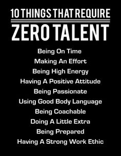 10 Things That Require Zero Talent, White On Black, Inspirational Print, Motivational Poster, Typogr