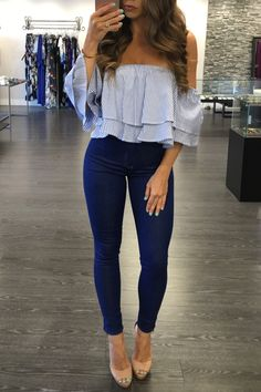 How to wear fall fashion outfits with casual style trends Cute Summer Outfits, Spring Outfits, Trendy Outfits, Cute Date Outfits, Date Night Outfit Summer, Crop Top Outfits, Teen Fashion, Fashion Outfits, Womens Fashion