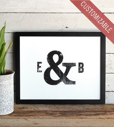Custom Typographic Initials & Ampersand Print | Art Prints | The Oyster's Pearl | Scoutmob Shoppe | Product Detail