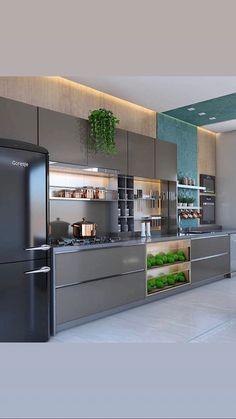 Luxury Kitchen Remodel with Gray Cabinet and Black Marble Countertop Secrets - homesuka Kitchen Room Design, Luxury Kitchen Design, Contemporary Kitchen Design, Kitchen Cabinet Design, Home Decor Kitchen, Interior Design Kitchen, Home Design, Kitchen Ideas, Kitchen Tips