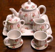 Girls Party Tea Set~Fluted White Porcelain With Pink Flowers Offered by #Barb'sPlace on Bonanza