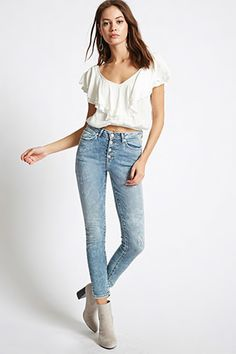 Front Buttoned High Waist Skinny Jeans from Forever 21 R299,00