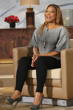 Gray Blouse: Lafayette 148, Black Pant: INC Available at Macys, Gray Suede Peep Toe Pump: Enzo Angiolini, Mirrored Stud Earrings: Henri Bendels, Rhinestoned Jaguar Necklace: Alexis Bittar // Queen Latifah Wardrobe Wrap-up 9.25.13