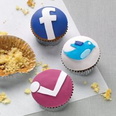Social media button cupcakes-- these are fun from Shortbread NYC. (she does any kind of custom logo)