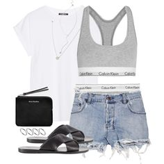 Untitled #510 by jennifer1297 on Polyvore featuring Balmain, Ksubi, Calvin Klein Underwear, Ancient Greek Sandals, Acne Studios, Forever 21 and ASOS