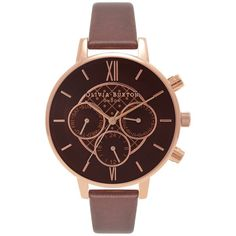 Olivia Burton OB16CG84 Big Dial Chrono Detail Chronograph Leather... (230 CAD) ❤ liked on Polyvore featuring jewelry, watches, brown strap watches, brown leather strap watches, chronograph watch, water resistant watches and olivia burton watches