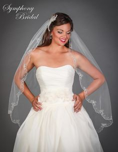 Regal Fingertip Wedding Veil 6508VL by Symphony Bridal - Affordable Elegance Bridal -