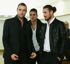 Philipp Plein, Erik Lamela and Pablo Daniel Osvaldo attend Philipp Plein and A.S. Roma unveil new team kit at Trigoria on November 8, 2012 in Rome, Italy.