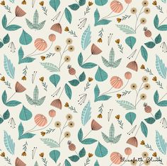 50s Floral by elizabeth olwen. Love the mix of aqua and coral.