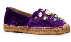 Dolce & Gabbana Purple Crystal-Embellished Velvet Espadrilles