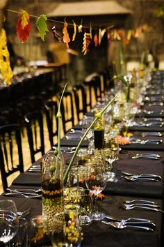 Autumnal leaf bunting and tablescape by Pyrus