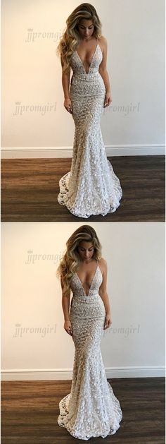 unique silver lace mermaid prom dresses, simple deep v neck party dresses with sequins, elegant plunging trumpet evening gowns #promdress #mermaiddress #lacedress #jjpromgirl
