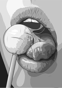 "Pop art ""a graphic version of licking lollipop"" Art And Illustration, Vintage Illustrations, Pop Art, Arte Pop, Art Graphique, Art Design, Interior Design, Erotic Art, Oeuvre D'art"