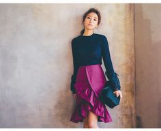 Ribbed knit with lace bell sleeves & wrap-front ruffled mermaid skirt