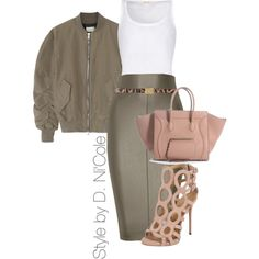 A fashion look from January 2015 featuring layering tank tops, olive skirt y cut out shoes.